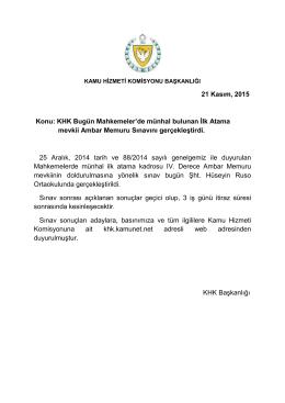 21 Kasım, 2015 Konu: KHK Bugün Mahkemeler`de münhal bulunan