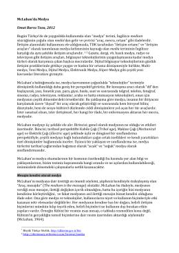McLuhan`da Medya Umut Burcu Tasa, 2012 Bugün Türkçe`de de