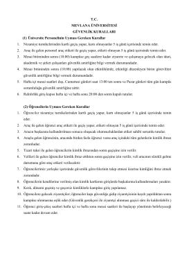 Mevlana Üniversitesi Güvenlik Kuralları