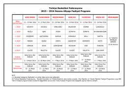 2016 Sezonu Altyapı Faaliyet Programı