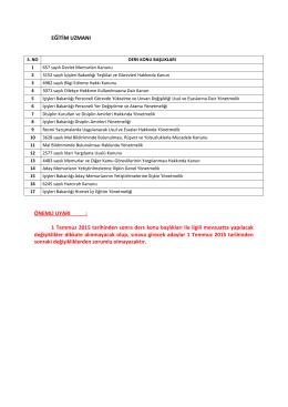 1 Temmuz 2015 tarihinden sonra ders konu başlıkları ile ilgili