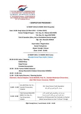 sempozyum programı - Yemen Sempozyumu 2015