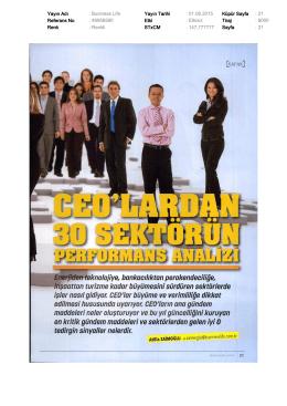 Yayın Adı : Business Life Yayın Tarihi : 01.08.2015 Küpür Sayfa : 21