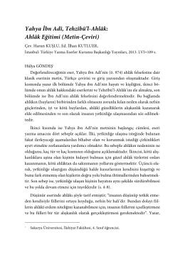 Yahya İbn Adî, Tehzîbü`l-Ahlâk: Ahlâk Eğitimi (Metin