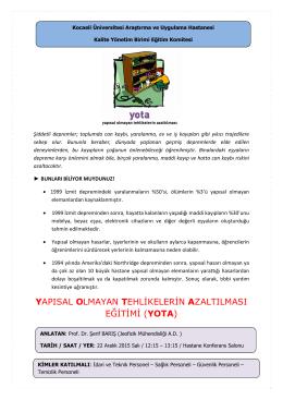 yapısal olmayan tehlikelerin azaltılması eğitimi (yota)