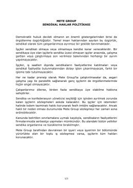 METE GROUP SENDİKAL HAKLAR POLİTİKASI Demokratik hukuk