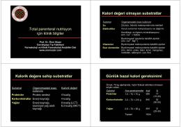 Total parenteral nutrisyon için klinik bilgiler Kalori de÷eri olmayan