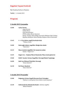 Engelsiz Yaşam Festivali Program