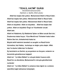 """""""TEHLİL HATMİ"""" DUÂSI"""