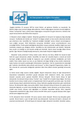 NLP 3-NLP nin Varsayımları ve Önermeleri