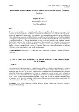 Almanya`daki Türklerin Medya Kullanımı Üzerine bir İnceleme A