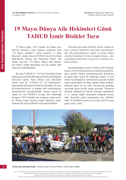 PDF - 19 Mayıs Dünya Aile Hekimleri Günü TAHUD İzmir Bisiklet Turu