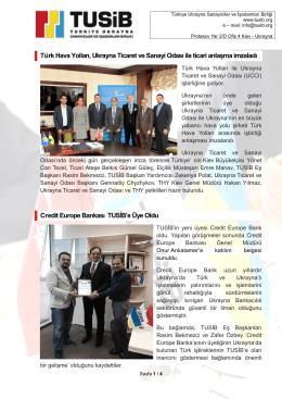 Türk Hava Yolları, Ukrayna Ticaret ve Sanayi Odası ile ticari