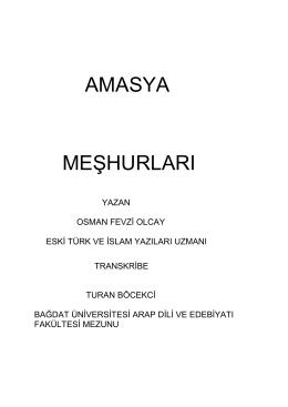 amasya meşhurları - Amasya Belediyesi