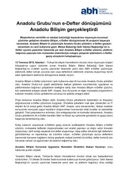 Anadolu Grubu`nun e-Defter dönüşümünü Anadolu Bilişim