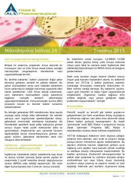 Mikrobiyoloji bülteni 24 Temmuz 2015