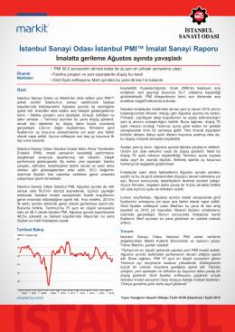 İstanbul Sanayi Odası İstanbul PMI™ İmalat Sanayi Raporu İmalatta