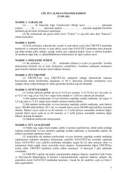 ÇİĞ SÜT ALIM-SATIM SÖZLEŞMESİ (TASLAK) MADDE 1