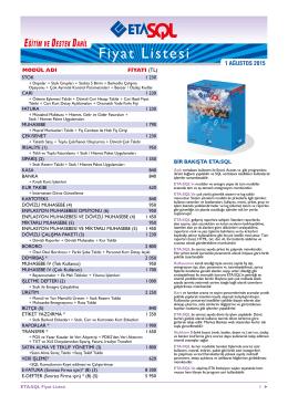 ETA SQL Fiyat Listesi