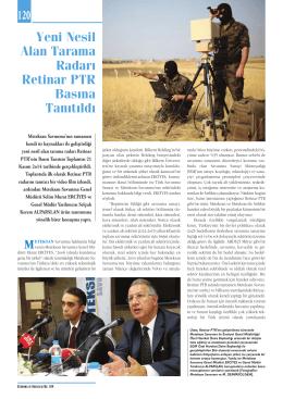 Yeni Nesil Alan Tarama Radarı Retinar PTR Basına Tanıtıldı