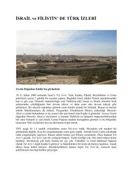 İSRAİL ve FİLİSTİN` DE TÜRK İZLERİ
