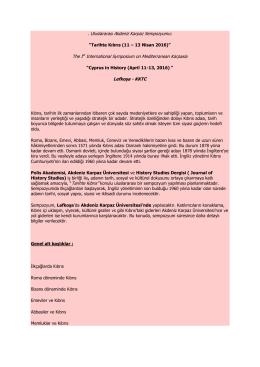 . Uluslararası Akdeniz Karpaz Sempozyumu: The Ist International