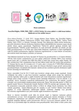 Basın açıklaması EuroMed Rights, FIDH, İHD, TİHV ve HYD Türkiye