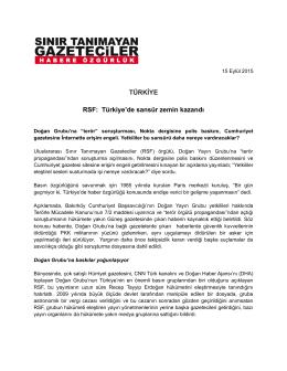 TÜRKİYE RSF: Türkiye`de sansür zemin kazandı