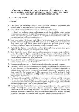 2015-2016 Bahar Kurumlar Arası Yatay Geçiş Başvuru Koşulları ve