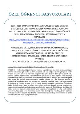 özel öğrenci başvuruları - SOSYAL BİLİMLER ENSTİTÜSÜ