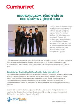 hesapkurdu.com, türkiye`nin en hızlı büyüyen 7. şirketi oldu