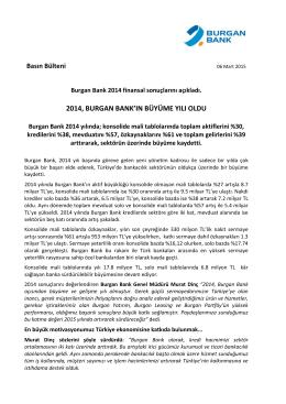 2014, BURGAN BANK`IN BÜYÜME YILI OLDU