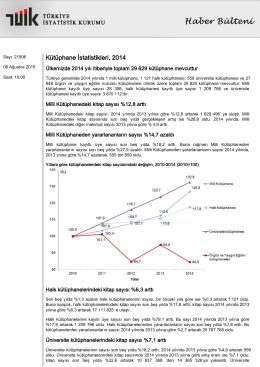 Türkiye İstatistik Kurumu Kütüphane İstatistikleri Haber Bülteni – 2014