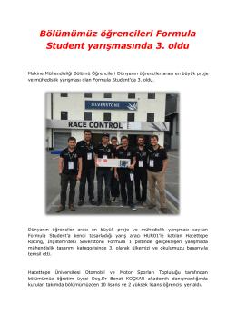 Bölümümüz öğrencileri Formula Student yarışmasında 3. oldu