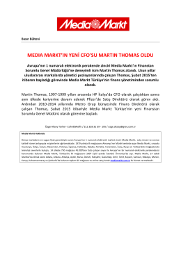 MEDIA MARKT`IN YENİ CFO`SU MARTIN THOMAS OLDU