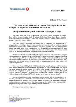 BASIN BÜLTENİ Türk Hava Yolları 2014 yılında 1 milyar 819 milyon