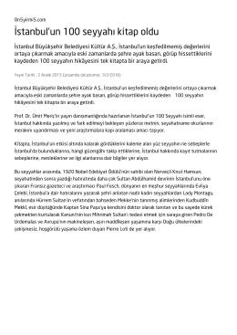 İstanbul`un 100 seyyahı kitap oldu