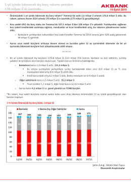 1 yıl içinde ödenecek dış borç rakamı yeniden 170 milyar $`ın