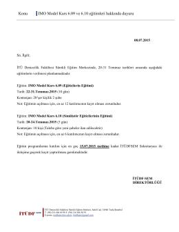 Konu IMO Model Kurs 6.09 ve 6.10 eğitimleri hakkında duyuru