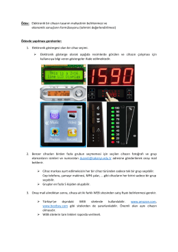 Ödev: Elektronik bir cihazın tasarım maliyetinin belirlenmesi ve