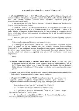 Yatay Geçiş İlkeleri - Ankara Üniversitesi