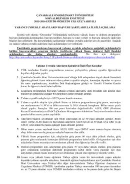 çanakkale onsekizmart üniversitesi sosyalbilimler enstitüsü 2015