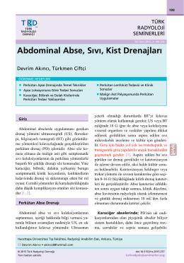 Abdominal Abse, Sıvı, Kist Drenajları