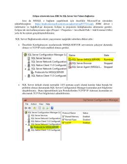 Eclipse ortamında Java ile SQL
