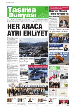 Taşıma Dünyası Gazetesi-184 PDF 20 Nisan 2015 tarihli sayısını