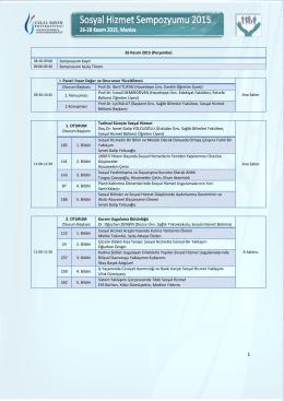 Sosyal Hizmet Sempozyumu 2015 Programı