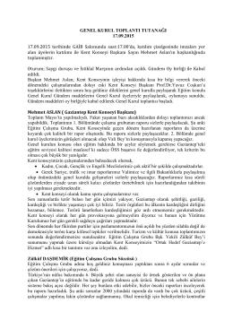 Gaziantep Kent Konseyi 6. Genel Kurul Toplantı Tutanağı