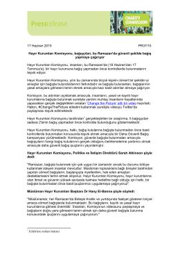17 Haziran 2015 PR37/15 Hayır Kurumları Komisyonu