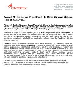 Paynet Müşterilerine FraudXpert ile Daha Güvenli Ödeme Hizmeti