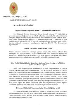KAHRAMANMARAŞ VALİLİĞİ - Kahramanmaraş Emniyet Müdürlüğü